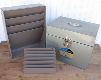 Vintage Office Desk Organizers and File Box - Slotted File Holders