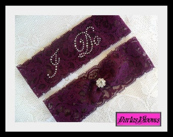 "Bridal garter, Wedding garter set, purple garter,Plum purple lace garter,Rhinestone Garter set, MANY COLORS,measure 2"" above knee"