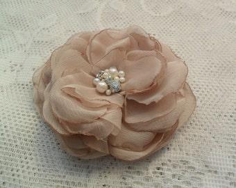Champagne hair flower, Wedding hair accessory, Bridal/Bridesmaid/Mother of the Bride hair piece, Chiffon hair piece, Wedding hair flower
