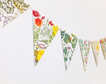 Botanical Bunting, Rustic Wedding bunting, Floral Garland, ecofriendly flower banner, upcycled bunting, Wedding Pennants