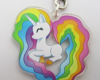 Double Sided Rainbow Unicorn Charm