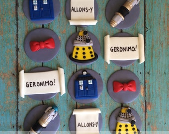EDIBLE (Fondant Toppers) - Dr. Who Inspired