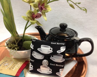 Tea Bag Travel Wallet - Good Morning - Cups on Black, Free US Shipping, Ship Worldwide, Gift for the Tea Lover