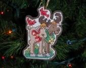 Christmas Moose Cross Stitch Ornament