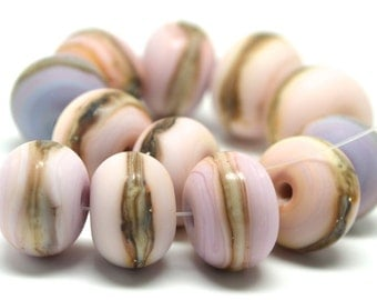 pink beach ...SRA Handmade silvered ivory tones of pink, ivory and lavender spacers Lampwork Bead set for making jewelry - 32715-5