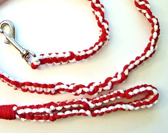 Red and White  Macrame Leash - Candy Cane