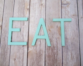 Cast Metal Letters EAT sign wall art decor vintage style Aqua Turquoise