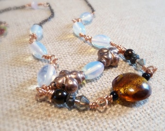 Extra Long Copper And Glass Bead Necklace, Layering Necklace, Glass Opal Beads, Amber Glass Foil Bead, OOAK Copper Wire Necklace, 39 Inch