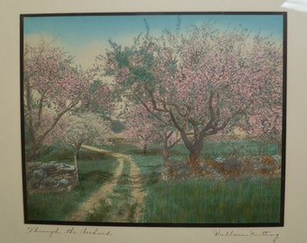 Wallace Nutting Print, Framed. Vintage Antique 1910s. Through the Orchard. Flowering Trees. Picture Frame. Cottage, Farmhouse, Garden Decor.