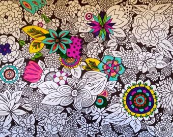 Coloring Page Printable Instant pdf Download Doodle Art Original Flower Page A