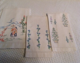 Vintage Embroidered Towels, hand,tea, dish