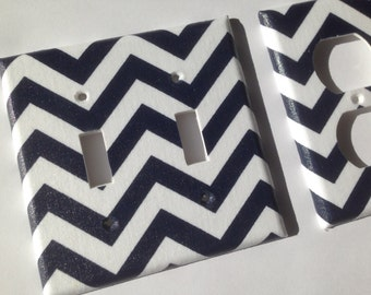 Navy Blue And White Nautical Chevron Striped Double Light Switch Cover /  Nautical Nursery Decor /