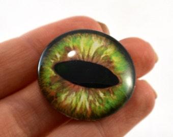 Glass Eye Cabochon 30mm Green Brown Cat Fantasy Eye for Steampunk Jewelry Making or Taxidermy Doll Eyeball Flatback Circle