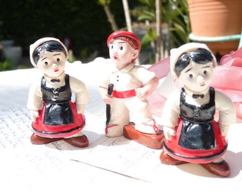 Three Lovely Vintage Ceramic Figurines - French Paysants Figurines - Pays Basque Character - Home Decor - Red White Black - Summer Finds