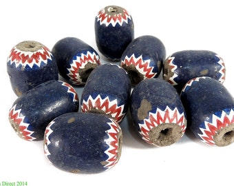 10  Chevrons Faux Painted Clay Beads Cameroon Africa 91672