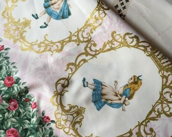 Alice in wonderland fabric pink base colour One yard Yesterday and Today