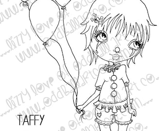 Digi Stamp Digital Instant Download Cute Big Eye Clown Girl ~ Taffy the Clown Image No. 76 & 76B by Lizzy Love