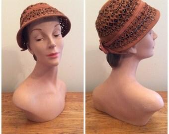1950s Beaded Wool Hat 50s