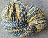 Handspun Yarn, 8 wpi, 226 yards Yellow/Gold White and Green 2 Ply Wool - Green Bay Packers, Oakland A's, Oregon Ducks, Portland Timbers Fans