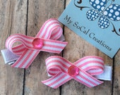 Tiny Twist Hair Bow Set-No Slip Hair Clips-Pink and White Stripe-Spring Hiar Clips