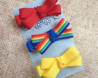 Mini Bow Trio-No Slip Hair Clips-Rainbow-Set of 3 Clips
