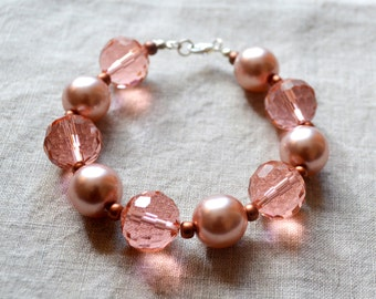 Rose Blush Pearl and Crystal Bracelet