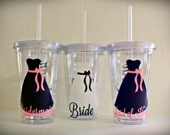 4-8 Personalized 16 oz Bridesmaid Tumbler Bridal Party Gift Bridesmaid Cup