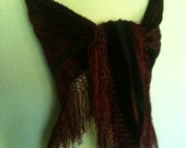 Gorgeous Burgundy Burned Out Velvet Fringed Shawl Steampunk Goth Sexy Elegant SHAWL ONLY