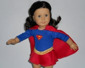 Super hero Supergirl costume with boots doll clothes for  American Girl  hand made in USA