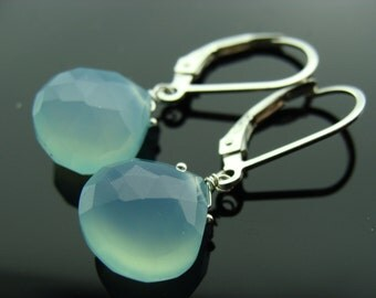 Aqua Chalcedony Sterling Silver Leverback Earrings