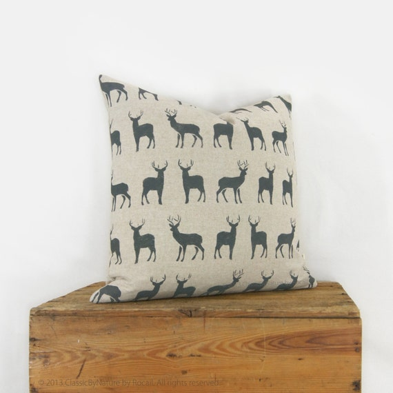 Graphic Stags Pattern | 18x18 or 20x20 Personalized pillow case | Pick your Ink Color and Fabric | Deer Decorative Pillow Cover For Couch