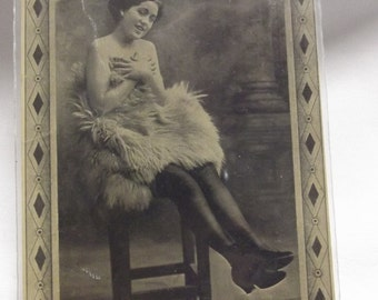 """Vintage Burlesque Postcard - Black and White - Topless Woman - says """"Won't you Cuddle me, I'm Freezing"""""""