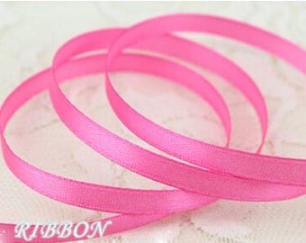 Bright Pink Ribbon Terylen Lace Trim 0.23 Inch Wide 22 meters