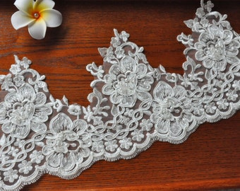 Ivory Alencon Lace Trim Luxury Beaded Sequined Wedding Lace Trim Embroidered Retro Lace Bridal Lace 7.48 Inches Wide 1 Yard