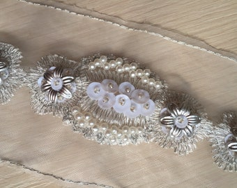 Silver Sequined Beaded Lace Trim Tulle Lace Trim 1 Yard For Costume Wedding Dress Belt Brial Sash Jewelry Design