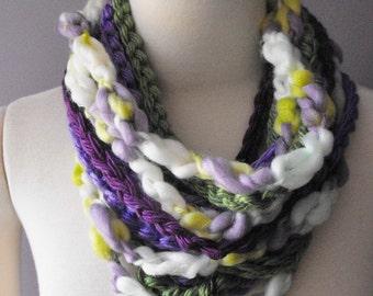 Handmade Infinity Scarf, Crocheted Cowl, Chain Scarf, Purple, Green, White, Fall Scarf, Ready to Ship, Warm, Fashion Scarf, Handmade