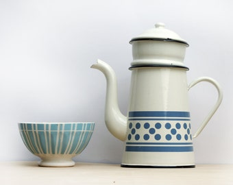 Completed French Vintage white Enamel coffee pot, White and blue polka dots, enamelware Home Decor