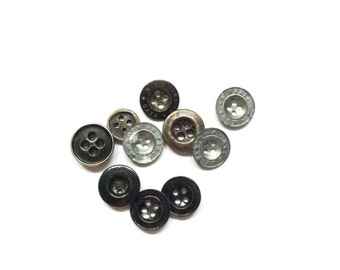 10 Tiny Metal Buttons, Antique, Black, Silver, Flat