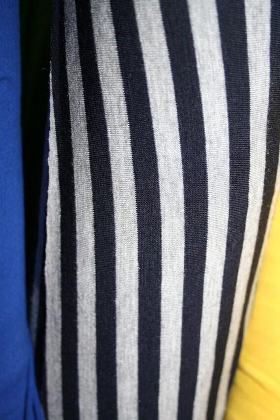 """Navy/Heather Gray 1/4"""" Jersey Lycra Stripe Knit (by the yard)"""