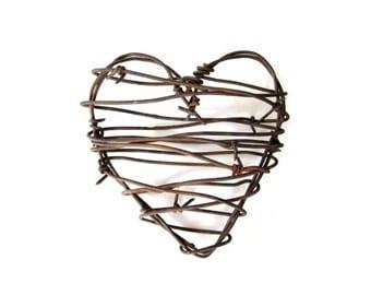 Rustic Wedding Decor . Barbed Wire Heart . Cowboy Heart decor . rustic wedding gifts for him . rustic man cave decor