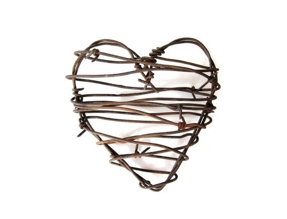 Rustic Wedding Decor . Barbed Wire Heart . Cowboy Heart decor . rustic wedding gifts for him . rustic man cave decor