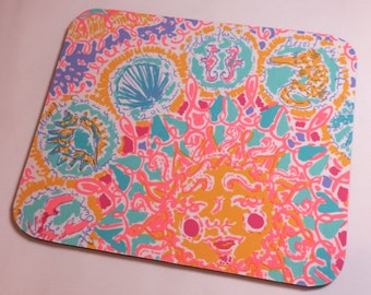 Mouse Pad  made with Lilly Pulitzer Signature Fabric Iris Blue Follow the Sun