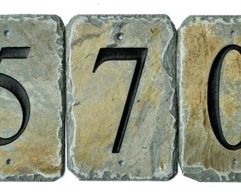 STONE House Number Tiles / Reclaimed Slate / Mailbox Post / ADDRESS Steps