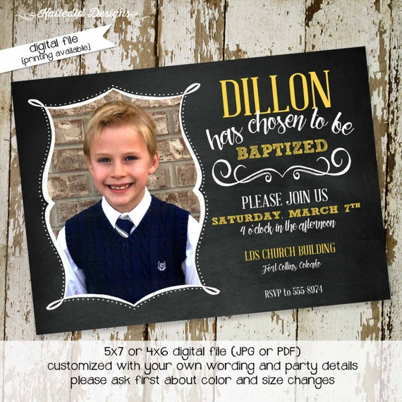 LDS baptism invitation chalkboard baby blessing birthday sip and see birth announcement christening (item 710) shabby chic invitations