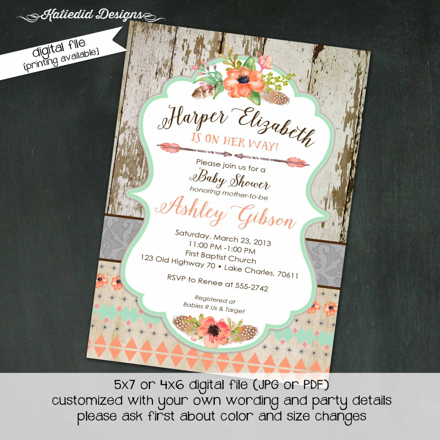 BOHO baby shower invitation tribal aztec bridal shower birthday