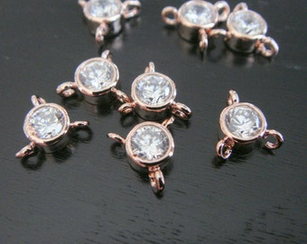 Small Rose Gold Crystal Stone Connector with 3 loops, Clear Stone pendants, Gemstones, Beads, 2 pc, B69185