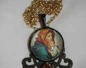 Christmas Mary baby Jesus picture round filugree rhinestone glass covered 24 in necklace