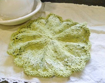 Gracie Wash Cloth-Doily Knitting PATTERN-Downloadable File, Lace Knit, Gift, Round, Classic Style, Wedding, Housewarming, Scalloped, Doilies