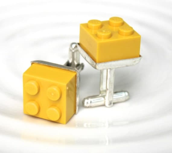 Yellow Lego Cufflinks - Silver plated - Valentine's Day Gift - Groomsmen Gift, Wedding accessory