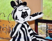 Ready to Ship Adorable Zebra Lullaby Lovey Blanket Soft Fleece and Washable too.  Sure to become a favorite Keepsake